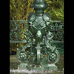 Antique Cast Iron French Fountain with Shell Decoration