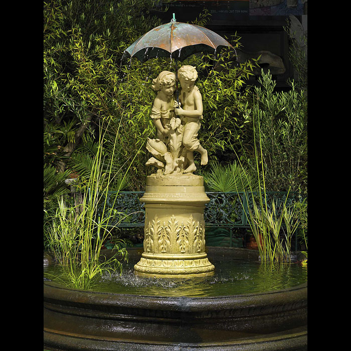 Antique Victorian Terracotta Fountain with Children in Copper
