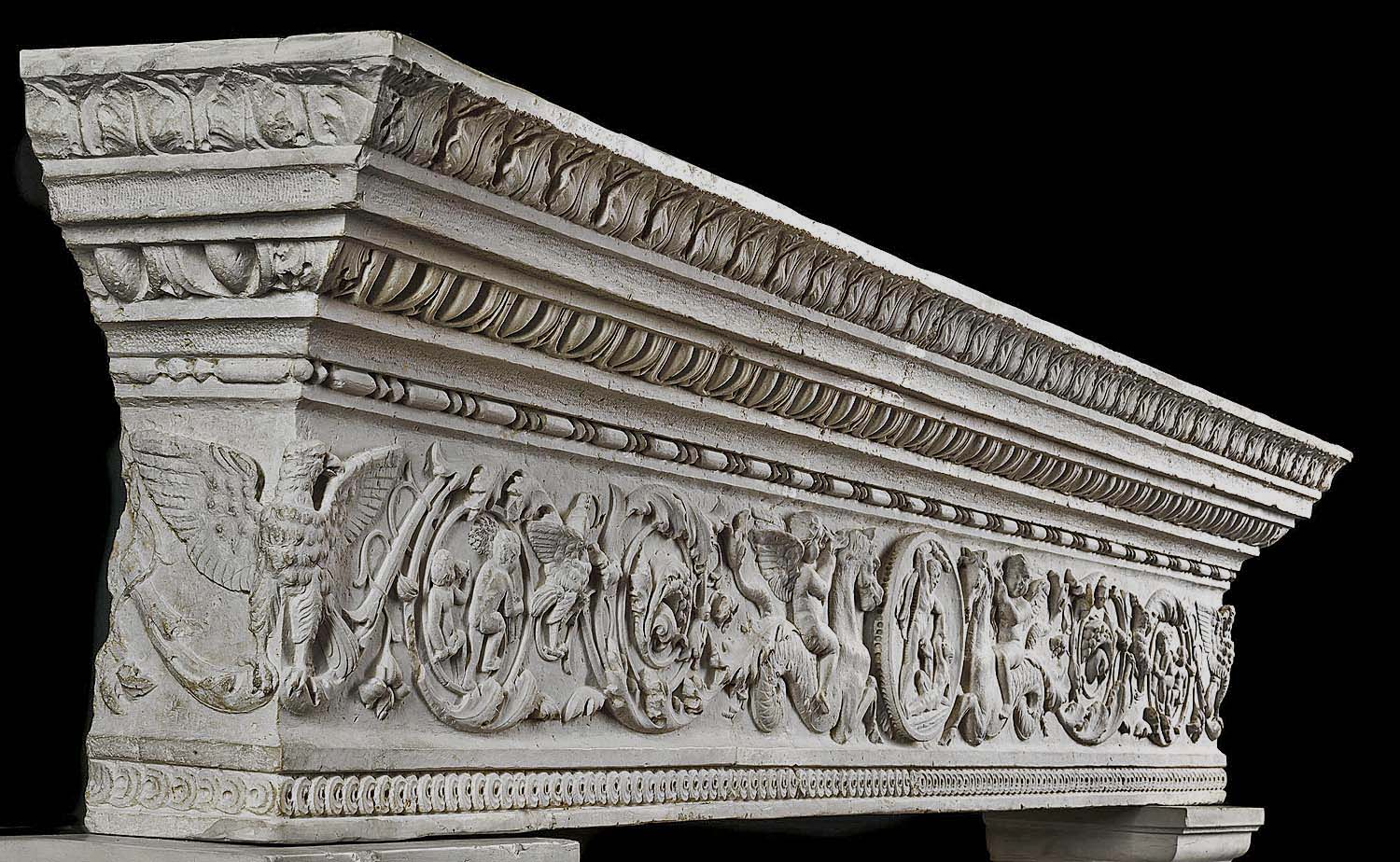 A large 18th century Istrian marble Italian Renaissance fireplace mantel