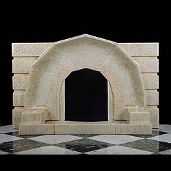Antique Art Deco Bast Ceramic fireplace with Original Hearth