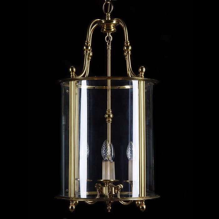 Antique Pair of Cylindrical Lanterns in Brass