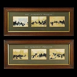 Set of Six Humorous Prints in two Oak Frames