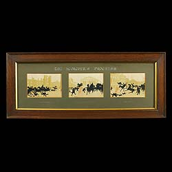 Antique Humorous Prints of The Scorcher in Oak Frames