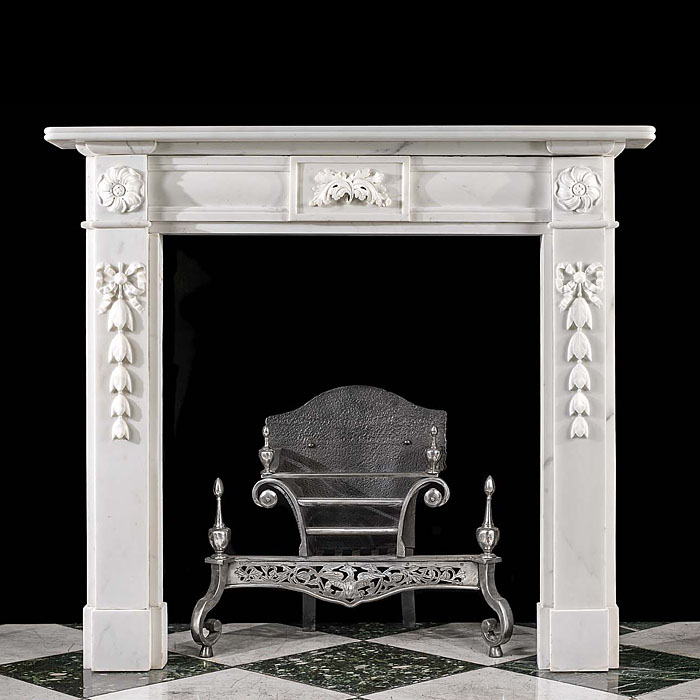 An Antique Statuary Marble Fireplace Surround