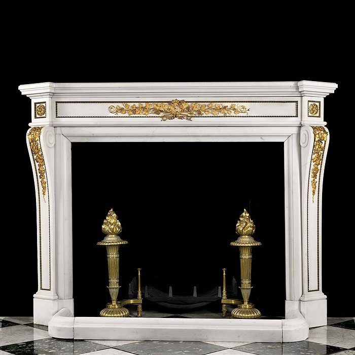 Antique Gilt Bronze and White Marble Louis XVI fireplace