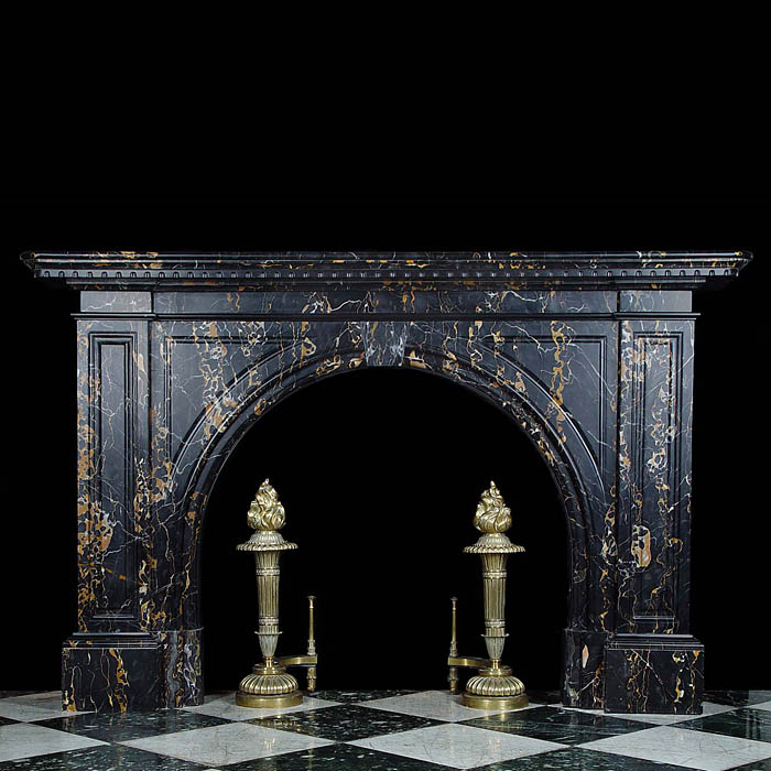 Large Antique black Portoro Marble fireplace in an Early Victorian style