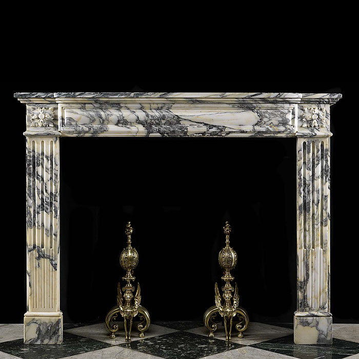 Antique Small Louis XVI fireplace in white Pavonazza Marble in a Regency style
