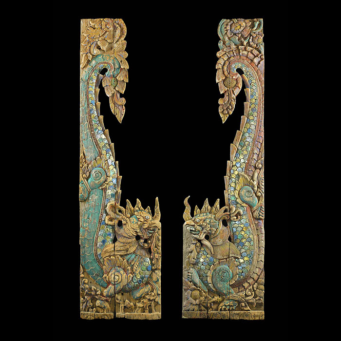 12076: A PAIR OF EXOTIC CARVED POLYCHROME FAR EASTERN ORIENTAL  ARCHITECTURAL ELEMENTS in the form of ornate scaled, serpentine stylised Dragons. 19th century.  Link to: Antique Doors and Windows.