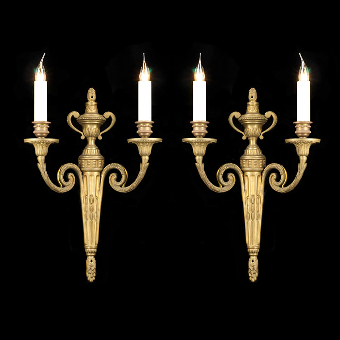A pair of 20th cnetury Louis XVI style brass Wall Lights