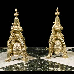Antique Gilt Bronze Louis XIV Chenets in the French Baroque manner