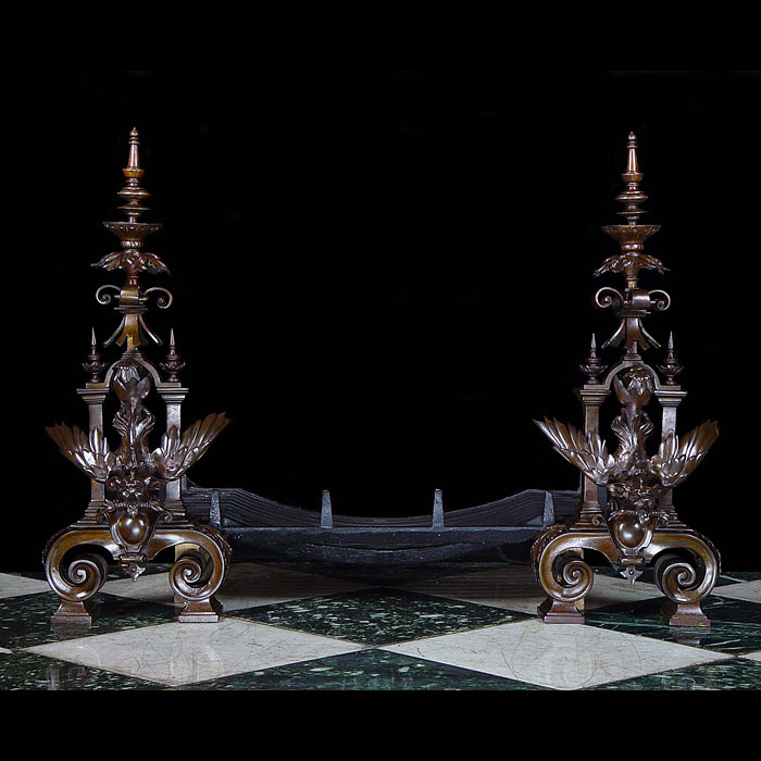 Baroque  style large bronze pair of andirons