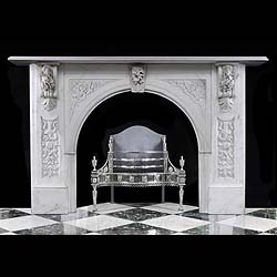 White Statuary Marble Victorian Antique Fireplace Surround