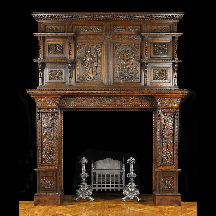 Antique Renaissance Elizabethan manner Oak Fireplace and Overmantel