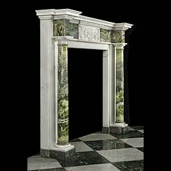 Antique Irish Georgian Connemara Marble Fireplace Mantel with Columns
