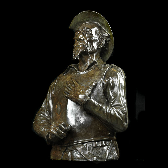12134: A LIFESIZE BRONZE BUST OF ' THE INGENIOUS GENTLEMAN DON QUIXOTE OF LA MANCHA '..El ingenioso hidalgo don Quijote de la Mancha....who with his squire, Sancho Panza was the inveterate tilter at windmill