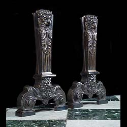 A pair of cast iron Replica Mannerist Revival Andirons in Bronze with Burnished Iron