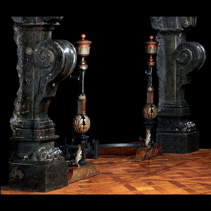 pair of Louis XVI tall iron and bronze andirons