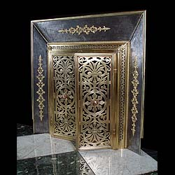 Antique Register Grate with ornate Gilt Brass doors with floral Decoration