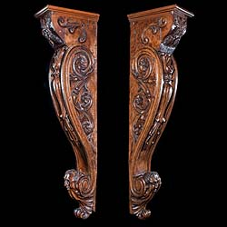 A large pair of Green Man brackets or jambs