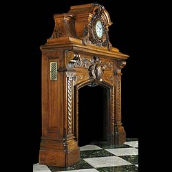 French Baroque carved oak antique fireplace and overmantel