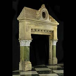 A Gothic style Caen stone & marble Victorian fireplace mantel