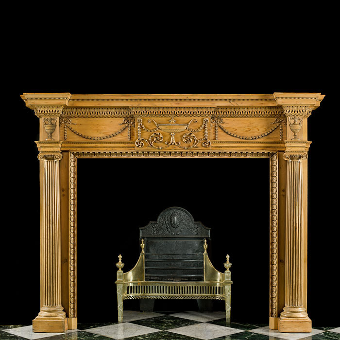 Antique Neo Classical Pine and Limewood Georgian style Chimneypiece