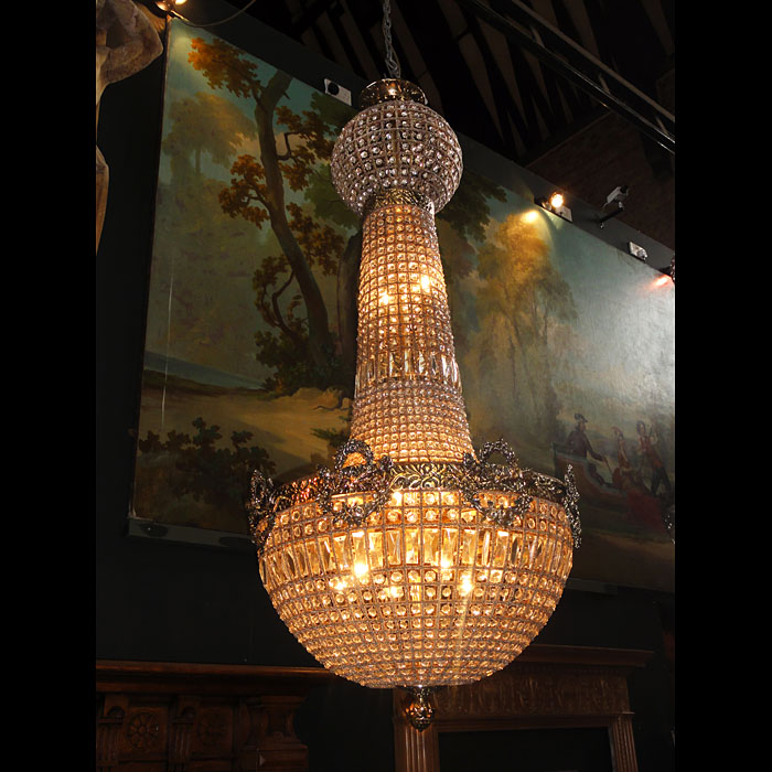 4 Large antique crystal chandeliers