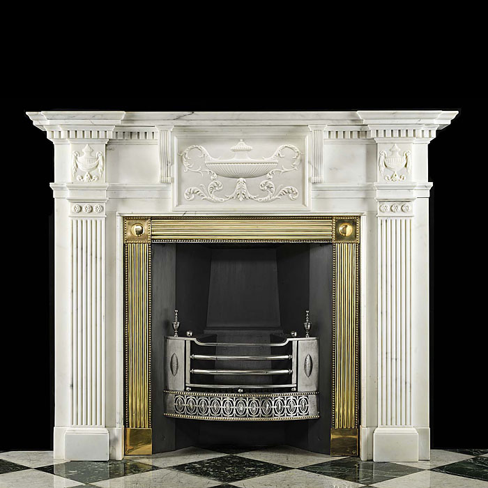 Antique Georgian carved Statuary Marble fireplace with fluted pilasters