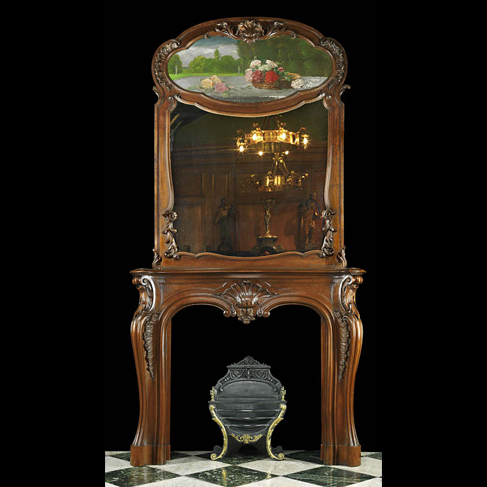Antique Louis XV Walnut Cheminee with Mirror and Painting Overmantel