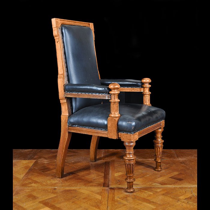Large oak Victorian magistrates chair