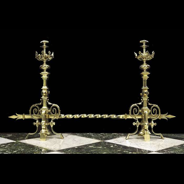 An Antique Pair of Tall Gothic Revival Chenets