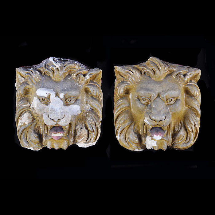 12299: THREE PLASTER LION MASKS. Early 20th century.