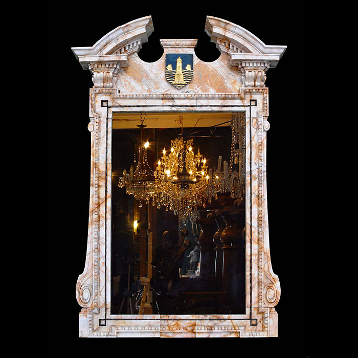 A large antique marble overmantel mirror from the Baltic Exchange