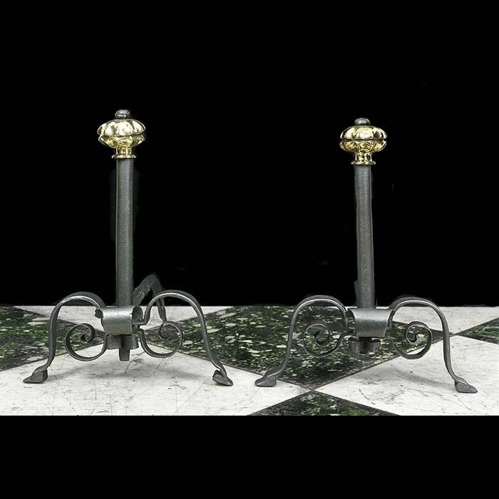 Cast Iron & Brass Baroque Style Andirons