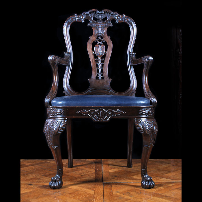 A Chippendale style Victorian mahogany armchair