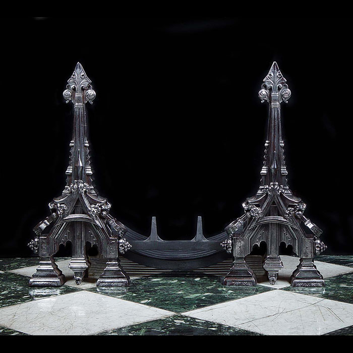 High Gothic style large pair of burnished andirons