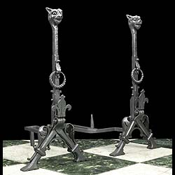 Antique Pair of Andirons in the Renaissance Revival style