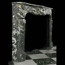 Antique French Louis XV Marble Black and Ivory Fireplace Mantel