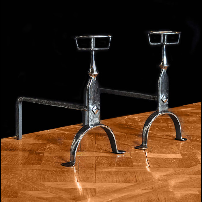 A pair of Antique burnished iron Andirons