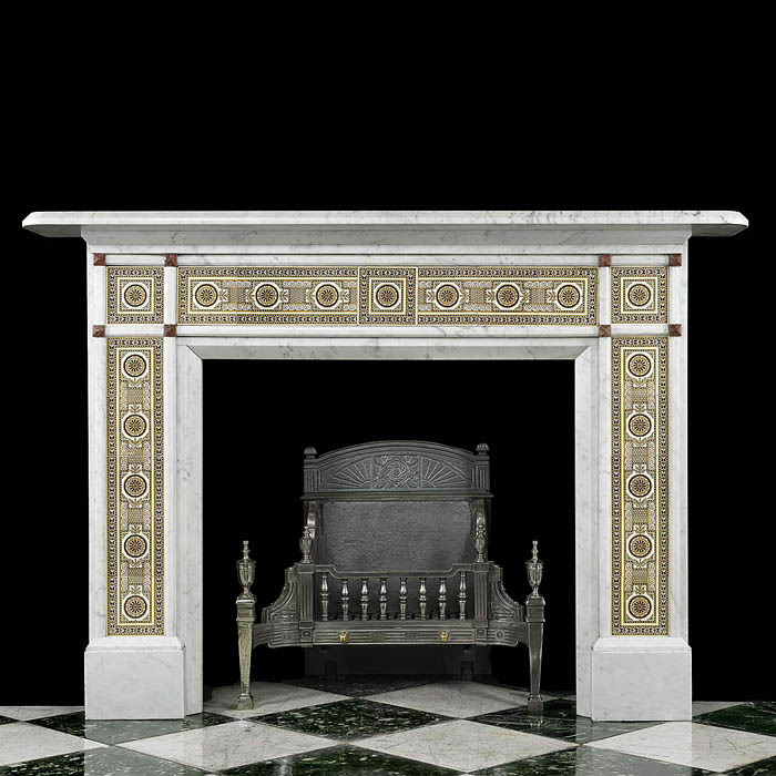 Antique Carrara Marble Chimneypiece with Victorian Christopher Dresser Tiles