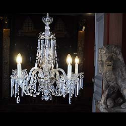 A cut glass Neoclassical style antique chandelier