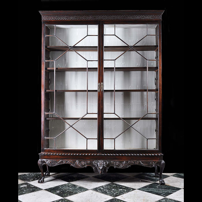 Adam style Victorian mahogany bookcase of collectors cabinet