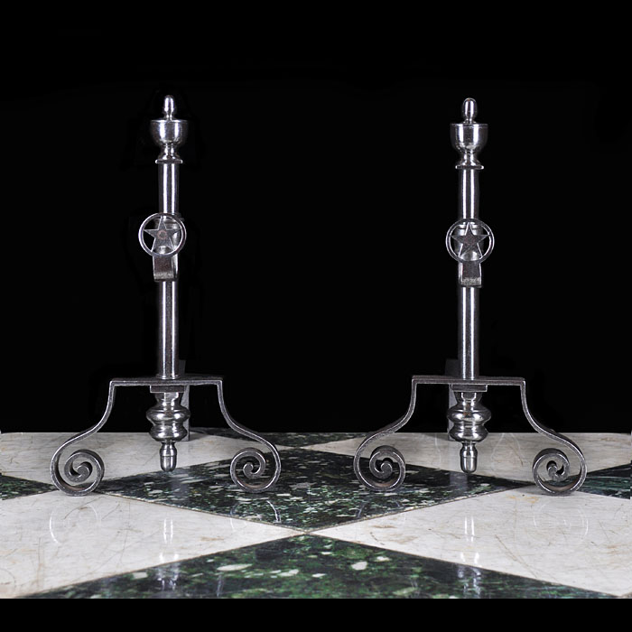 A pair of Antique burnished iron neoclassical style andirons