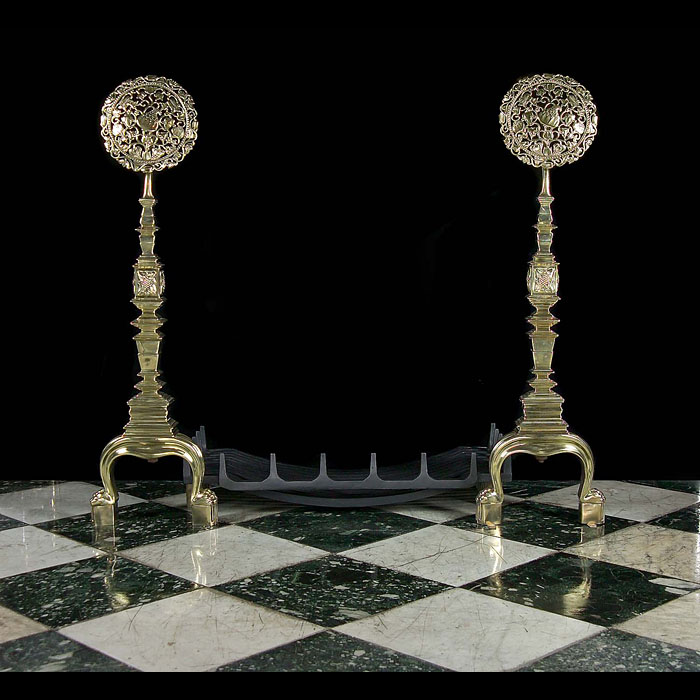 A Pair Rare & Very Tall Arts & Crafts Brass Antique Andirons