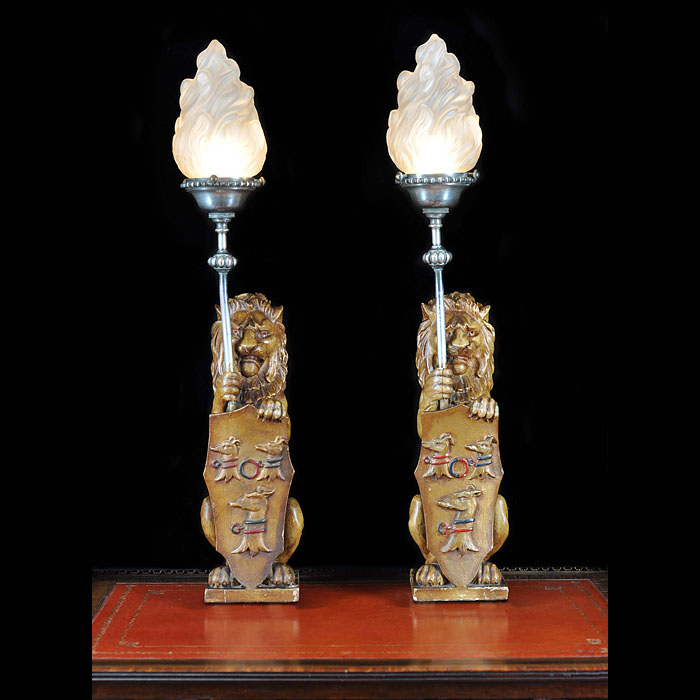 Antique pair of carved wood lion newel posts