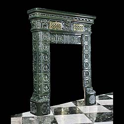 Antique Renaissance Revival French Chimneypiece in Green Ceramic Tiles