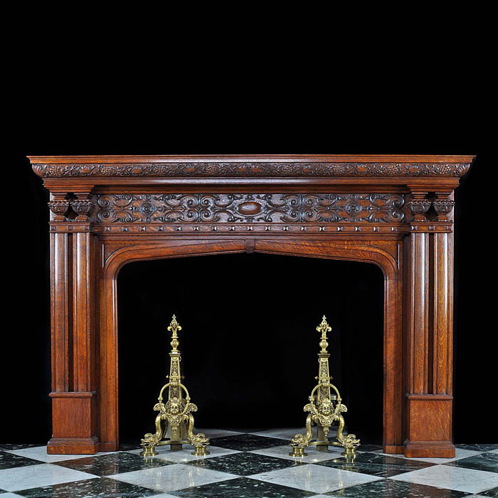 Antique English Jacobean Revival carved Oak Fireplace Mantel