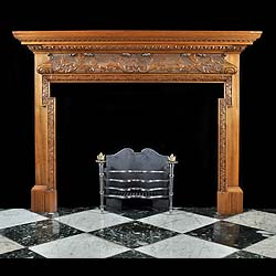 Antique carved Wood Georgian Fireplace Mantel