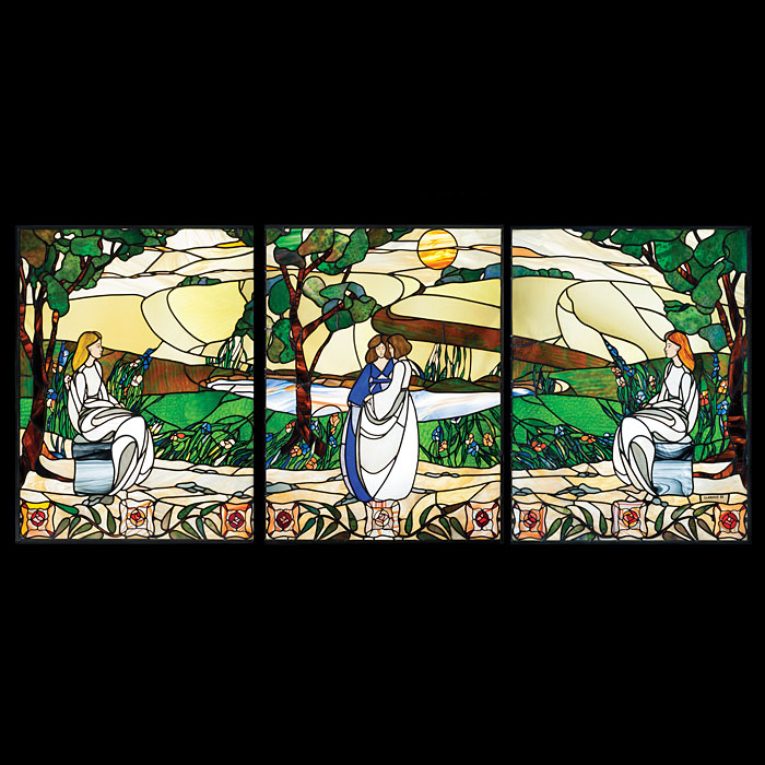 An Art Nouveau Style Stained Glass Window