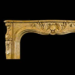 Antique Carved French Rococo Yellow Marble Fireplace Mantel